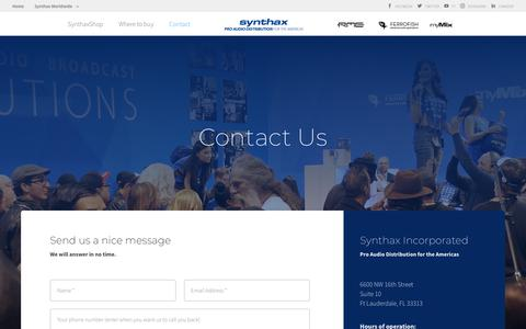 Screenshot of Contact Page synthax.com - Contact | Synthax Inc. - captured Oct. 18, 2018