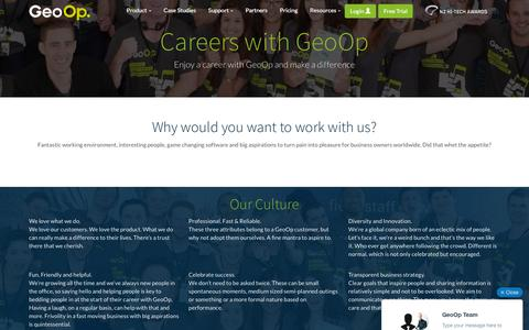 Screenshot of Jobs Page geoop.com - Careers at GeoOp - captured Dec. 4, 2015