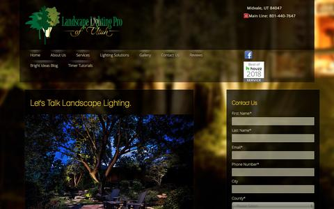 Screenshot of Contact Page utahlights.com - Contact Landscape Lighting Pro of Utah - captured Jan. 8, 2020