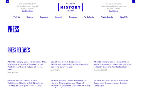 Screenshot of Press Page atlantahistorycenter.com - Atlanta History Center - captured May 31, 2017