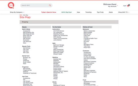 Online Shopping Site Map — QVC.com