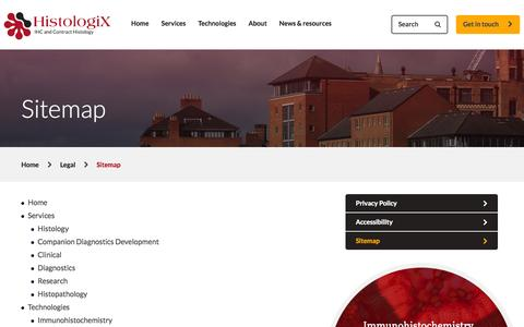 Screenshot of Site Map Page histologix.co.uk - Sitemap - Histologix - captured Oct. 2, 2014