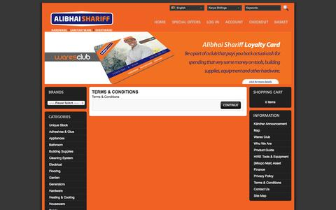 Screenshot of Terms Page alibhaishariff.com - Terms & Conditions - captured Oct. 4, 2014