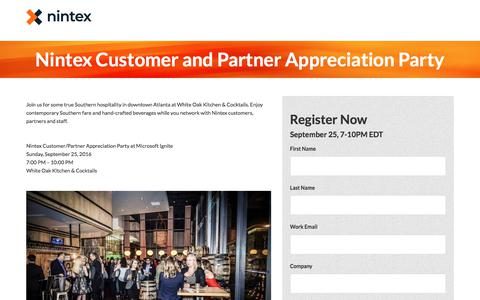 Screenshot of Landing Page nintex.com - Nintex Customer and Partner Appreciation Party - captured Sept. 21, 2018