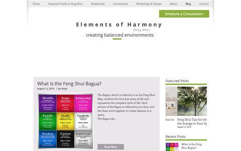 Screenshot of Blog elementsoffengshui.com - Feng Shui Blog   United States   Elements of Harmony Feng Shui - captured Sept. 27, 2018