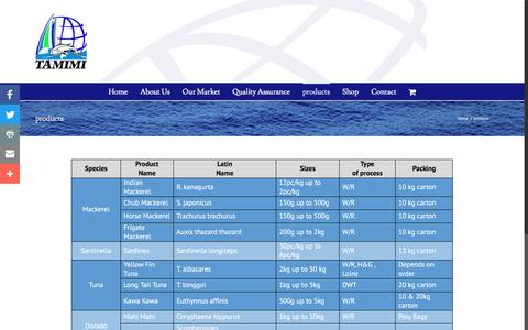 Screenshot of Products Page tamimifish.com - products | Tamimi Fisheries Company - captured Dec. 11, 2016