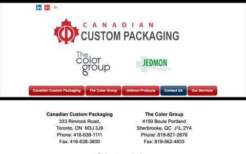 Screenshot of Contact Page cdncustompackaging.com - ccpandtcg | Contact Us - captured Sept. 26, 2018