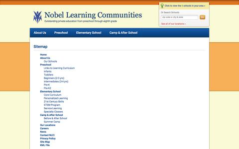 Screenshot of Site Map Page nobellearning.com - Site Map | Nobel Learning Communities - captured Dec. 1, 2016