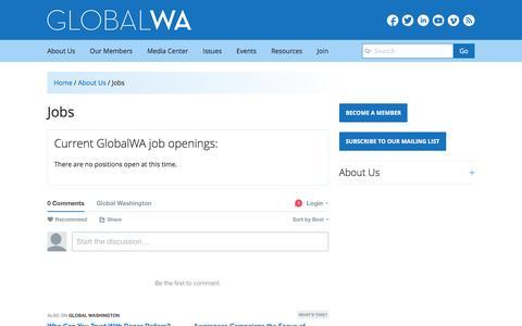 Screenshot of Jobs Page globalwa.org - Jobs | Global Washington - captured Jan. 30, 2016