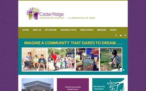 Screenshot of Home Page crcc.org - Home - Cedar Ridge Community ChurchCedar Ridge Community Church | A Community of Hope - captured Jan. 26, 2016