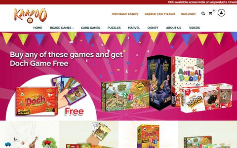 Screenshot of Home Page kaadoo.in - Buy Exciting Board Games, Card Games and Puzzles for Kids Online - Kaadoo - captured July 12, 2018