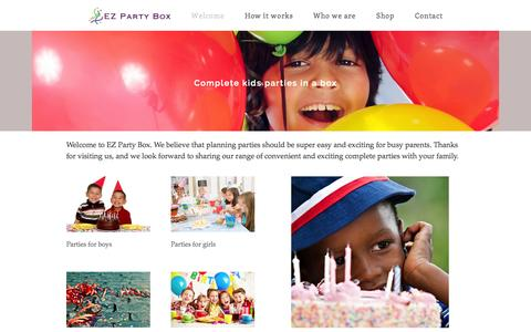 Screenshot of Home Page ezpartybox.com - Complete kids parties in a box - captured Sept. 27, 2014