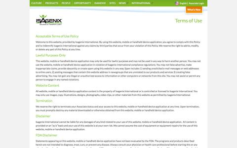 Terms of Use - Isagenix.com