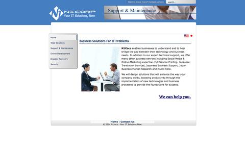 Screenshot of Menu Page n1corp.com - Business Solutions For IT Problems - captured Oct. 9, 2014