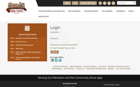 Screenshot of Login Page avchamber.org - Login - Apple Valley Chamber of Commerce, CA - captured Oct. 3, 2018