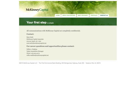 Screenshot of Contact Page mckinneycapital.net - McKinney Capital - captured Oct. 27, 2014