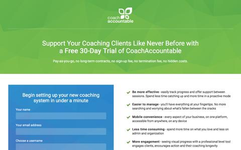 Screenshot of Signup Page Trial Page coachaccountable.com - Sign Up for your free trial account of CoachAccountable, coaching software for professional coaches - captured May 18, 2017