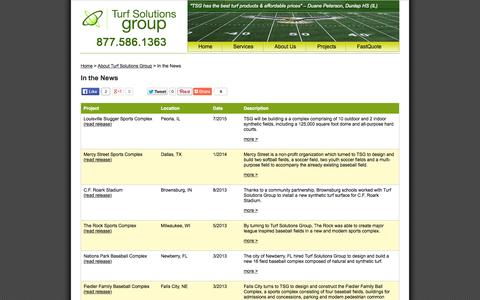 Screenshot of Press Page turfsolutionsgroup.com - Turf Solutions Group Press Releases - captured Aug. 4, 2015