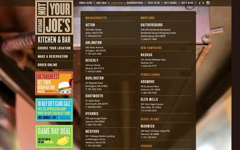 Screenshot of Locations Page notyouraveragejoes.com - Restaurants in Massachusetts (MA), MD & VA - Not Your Average Joe's | Not Your Average Joes - captured Oct. 26, 2014