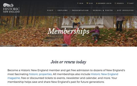Screenshot of Signup Page historicnewengland.org - Become a Member of Historic New England - captured Nov. 5, 2018
