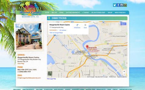 Screenshot of Maps & Directions Page margaritavillebossiercity.com - Margaritaville Resort Casino -  Bossier CityDirections and Travel Information - captured Oct. 27, 2014