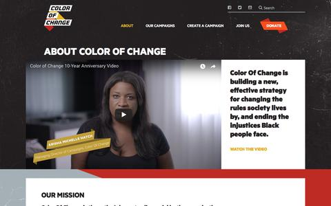 Screenshot of About Page colorofchange.org - ABOUT COLOR OF CHANGE – ColorOfChange.com - captured July 20, 2018