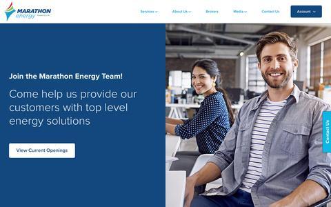 Screenshot of Jobs Page mecny.com - Careers - Marathon Energy - captured April 9, 2018