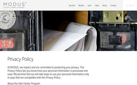 Screenshot of Privacy Page discovermodus.com - Privacy Policy - Modus - captured Sept. 16, 2014