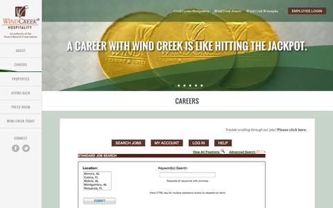 Screenshot of Jobs Page windcreekhospitality.com - Careers - Wind Creek Hospitality - captured Oct. 27, 2014
