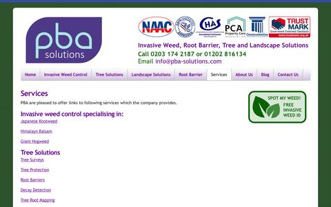 Screenshot of Services Page pba-solutions.com - PBA Solutions Weed Control & Landscaping Services - captured Sept. 26, 2014