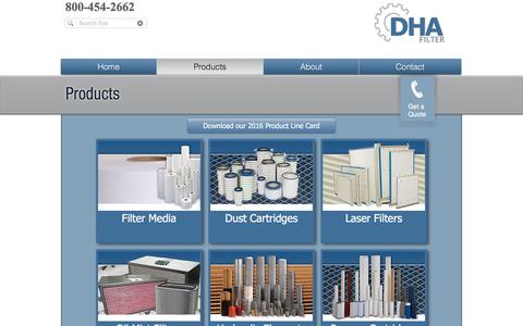 Screenshot of Products Page dhafilter.com - DHA Filter | Product Line - captured June 3, 2017