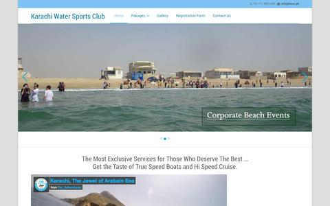 Screenshot of Home Page kwsc.pk - Karachi Water Sports Club - captured Sept. 6, 2015