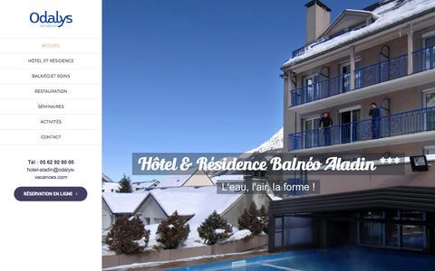 Screenshot of Home Page hotelbalneoaladin.com - Location vacances Cauterets - Odalys - captured March 14, 2018