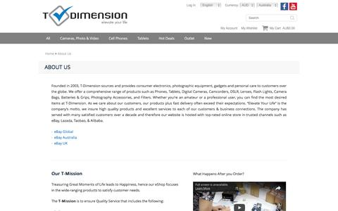 Screenshot of About Page t-dimension.com - About Us Phone & Camera Shop - Best Price Online - captured Dec. 4, 2016