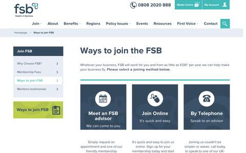 Screenshot of Signup Page fsb.org.uk - Join FSB, Membership of the Federation of Small Businesses - captured Nov. 10, 2016