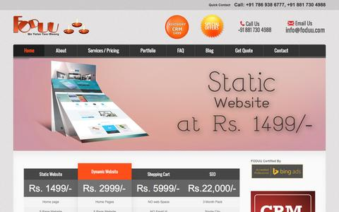 Screenshot of Home Page foduu.com - Cheap web design company india website at Rs.1499, $99 - captured Feb. 4, 2016