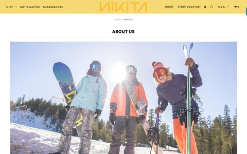 Screenshot of About Page nikitaclothing.com - ABOUT US – Nikita Clothing - captured Nov. 7, 2018