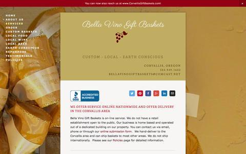 Screenshot of Services Page bellavinogiftbaskets.com - Services — Bella Vino Gift Baskets - captured Sept. 30, 2014