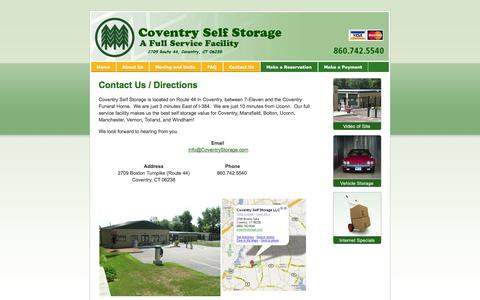 Screenshot of Contact Page Maps & Directions Page coventrystorage.com - Coventry Self Storage - Contact Us - captured Oct. 22, 2014