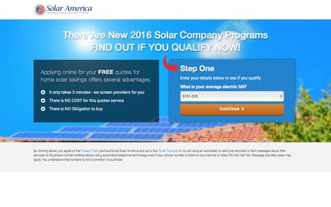 Screenshot of Landing Page solaramerica.org - Solar Discounts from Solar America | Solar America® - captured April 24, 2016