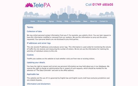 Screenshot of Terms Page telepa.co.uk - Terms - TelePA - High quality call answering and diary management from a team of intelligent and experienced Virtual PAs - captured Oct. 1, 2014