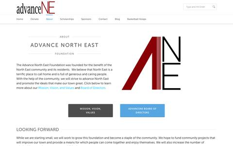 Screenshot of About Page advancene.com - About the Advance North East Foundation - Non-Profit in North East, PA - captured Oct. 4, 2014