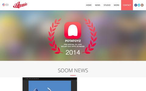 Screenshot of Home Page atomic-soom.com - Atomic Soom   Interactive Experience Designer - captured Sept. 30, 2014