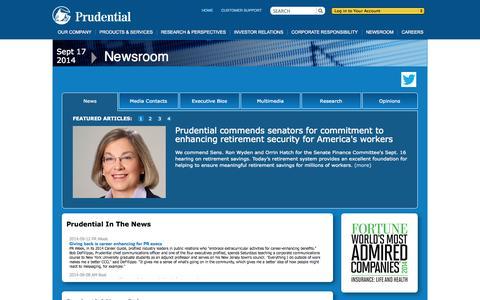 Screenshot of Press Page prudential.com captured Sept. 18, 2014