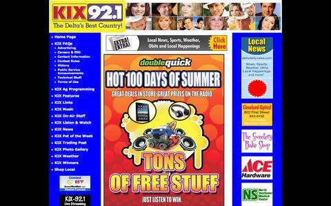 Screenshot of Home Page kix921.com - WKXY Radio - Home - captured Sept. 26, 2015