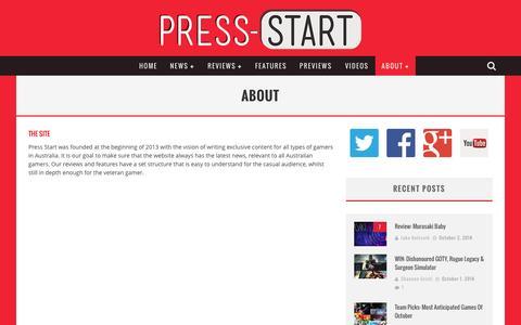 Screenshot of About Page press-start.com.au - About | Press Start Australia - captured Oct. 3, 2014