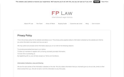 Screenshot of Privacy Page fplaw.co.uk - Privacy Policy | FP Law - captured Sept. 30, 2014