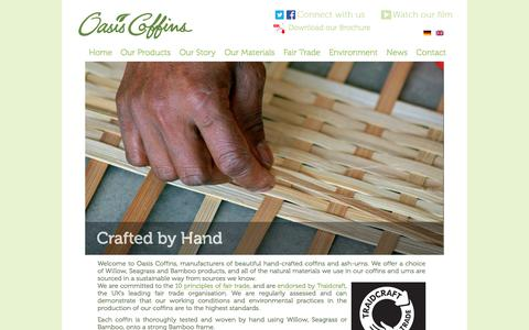 Screenshot of Home Page oasiscoffins.com - Oasis coffins and ash urns are eco friendly and hand crafted - captured Oct. 6, 2014