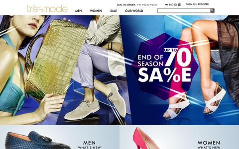 Screenshot of Home Page tresmode.com - Online Shopping India Shoes & Handbags Online @ tresmode.com - captured Feb. 17, 2016