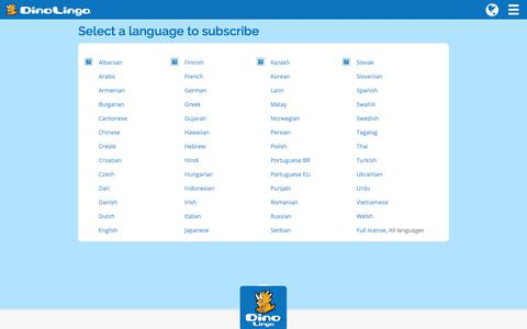Screenshot of Signup Page dinolingo.com - Select a language to subscribe – Dino Lingo ® - captured Nov. 6, 2018